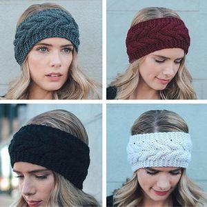 Tejer lana pelo de las vendas banda de moda venda del ganchillo ganchillo Turbante Turbante mujeres Pañuelos la elasticidad del cabello Accesorios IIA426