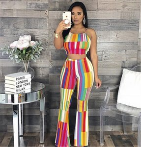 Halter Lace Up Summer Style Sexy 2pcs Suits Designer Female Casual Nightclub Party Tracksuit Outfits Rainbow Striped Print Women Set Fashion