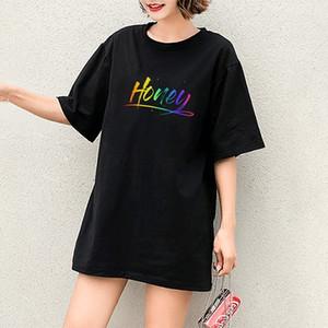 Bal Harf Modeli 2020 Yeni Renkli Harfler Kısa Kollu Nefes Rahat Tops ile Moda DIY Tişörtler Kız Casual Tişörtler