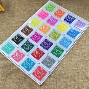 24 Colors Set Cute Inkpad Cartoon Stamp Craft Oil Based DIY Ink Pads for Rubber Stamps Scrapbook Decor Fingerprint Kids Toy