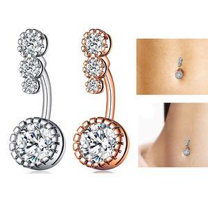 Нержавеющая сталь кольцо алмаз живот аллергии бесплатно Циркон Navel Bell Button Кольца Sexy Мода ювелирные изделия ювелирные изделия женщины тела будут и песчаные