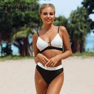 SEASELFIE Sexy Black and White Colorblock Bikini Sets Swimsuit Mid-waisted Two Pieces Swimwear Women 2020 Beach Bathing Suits