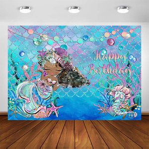 Under The Sea Petite Sirène Backdrop Sea Shell Herbe Scales océan Photographie Backdrops Baby Girl Birthday Party Decoration