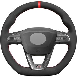 Black Suede Red Marker Car Steering Wheel Cover For Seat Leon Cupra R Leon ST Cupra Ateca FR car accessories
