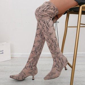 The Over Women Knee Boots Woman Fashion Snake Pattern High Boots New Female Thick Heels Ladies Pumps Women's Shoes