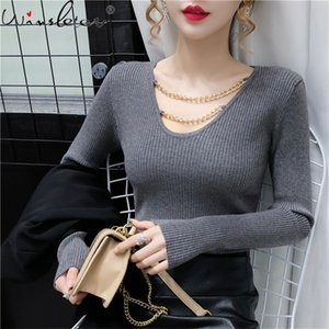 Fall Winter Knitted Sweater Korean Style Women Fashion Sexy V-Neck Chain Hollow Out Pullover Ropa Mujer Bottoming Tops T09614L 0926