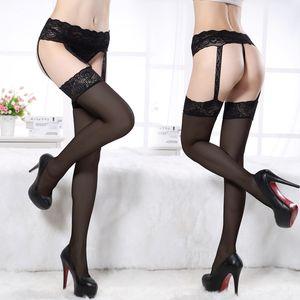 pizzo sexy fHWgL incantevoli calze sexy sling locale notturno lungo le calze di pizzo C0003 Sling seta calze nere