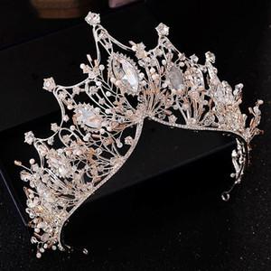 Accesorios de la boda de la corona del concurso de rey corona de la reina tiara nupcial del pelo chino Cabeza del casco de joyería de cristal grande Novia Hairband C18110801