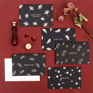 Noël carte de voeux Lettres bronzants Folding Thanksgiving Noël mariage anniversaire de carte de voeux Jour Valetine Carte postale 6pcs / set