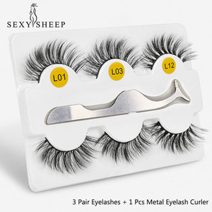 3 Pairs 3D False Eyelashes Eyelashes With Tweezer Thick Soft Eye Lash Extensions 100% Hand Made False Lashes Eye Makeup Tool