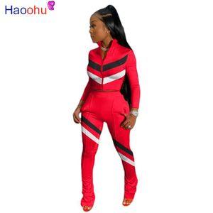 HAOOHU strisce insieme a due pezzi della tuta a maniche lunghe Zipper Top + Stacked Leggings insieme casuale Tuta Autunno Donna Outfits