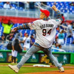 Maimi Bad Bunny Maillot Homme Baseball blanc avec Porto Rico Drapeau pleine Cousu shirt Taille S-4XL 09