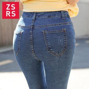 Zsrs 2020 Jeans for Women mom Jeans High Waist Woman High Elastic plus size Stretch female denim skinny pencil pants