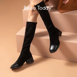 BeauToday Uzun Çizme Kadınlar Stretch Kumaş Timsah Desen Kare Toe Dana derisi Kış Bayan Diz Yüksek Ayakkabı El yapımı 01419
