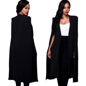 Plus Size-elegante Frauen-Blazer langen Mantel Mantel-Qualitäts-Cape Weiß / Schwarz Farbe Büro Täglich High Street Blazer feminino