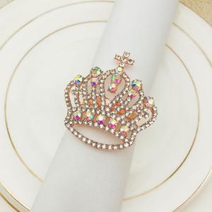 10pcs / серия Горячие продажи корону алмаз салфетку металлическое кольцо салфетки кольца пряжки подходит для украшения свадебного праздника партии