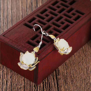 Hot Sale 2020 new fashion pendant earrings Lotus and Tian White jade pendant S925 sterling silver inlaid with precision to produce