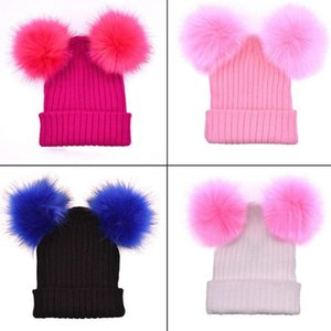 Women Fashion Knitted Faux Fur Ball Pom Pom Cute Lady Beanie Hat Warm Cap Gift Fluffy Ball, Warm, All-match, Lovely HOT SALES !!