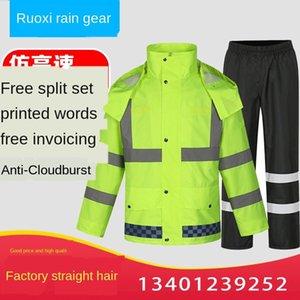 NOhmB Raincoat pantolon yağmur trafik yetişkin bölünmüş yeşil takım elbise ve floresan pantolon yağmurluk takım yansıtıcı uyarı