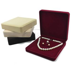 Conjunto de la joyería pendiente del collar de la caja de regalo del anillo 19x19x4cm caja de terciopelo boda Embalaje favor Caja de almacenamiento caso titular de exhibición de la joyería