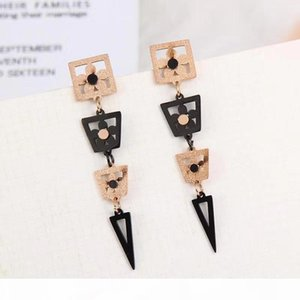 F Fashion Young Solid Rose Gold Black Long Form Line Triangle Earrings All Items From A Smoke -Free ,Pet -Free Home .