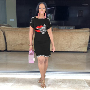 Rundhalsausschnitt Damenmode Mode Cartoon Print Damen Kleid Sexy Leopard Entwerfer-Sommer-beiläufige Kleider lose