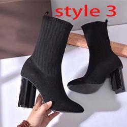 Chaussettes Bottes Automne Hiver Femmes Chaussures tricotées Bottes élastiques Bottes de mode Sexy Femme High-Heeled Chaussures Grandes taille Talons épais 35-42 US4-US11