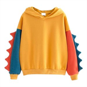 women Hoodies Patchwork Winter Cute Kawaii Sweatshirt Women Oversize Hooded Pullover dinosaur Tops Tracksuit Drop Shipping