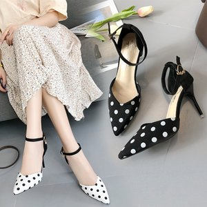 Lucky2019 Baotou High Sandals Down Noodles One Word Bring Hasp Single Shoe Woman Sharp Fine With Cavity Sweet Joker Women's Shoes