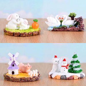 1 Set Miniatures Mini Ornament Tabela animal Figurines Moss Micro Paisagem Corte dos desenhos animados Resina Artesanato Jardim Home Decor