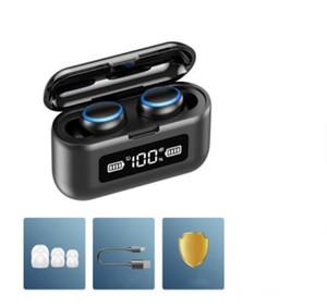 Neue F9 Wireless Bluetooth-Kopfhörer TWS5.0 Sport Kopfhörer HiFi Stereo-Ohrhörer LED-Anzeige Touch Control 2000mAh-Power Bank-Headset mit MIC