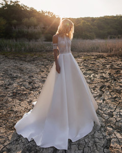 2021 Sexy Sheer Boho Beach Wedding Dresses A Line Short Sleeves Hollow Lace Satin Bohemian Country Bridal Wedding Gowns Custom Made
