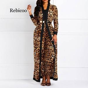 Establece las mujeres traje atractivo del estampado leopardo de las señoras de la primavera otoño manga larga Escudo Pantsuits manera ocasional pantalones Trajes T200808