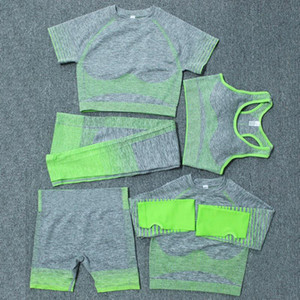 Otoño Invierno Moda para mujer Traje de yoga grueso Gymshark Sportwear Trajes de caza deportivos Fitness Sports Five Piece Set 5pcs Sujetador Leggings Trajes Siut Traje