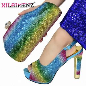 Azul Hot Sale nigeriano New Design As senhoras Matching sapato e bolsa italiana Mulheres sapatos e bolsas Conjunto para a festa com brilho de cristal I9On #