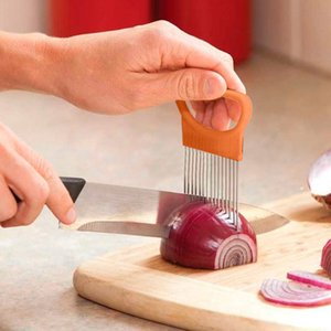 Shrendders & Slicers Tomato Onion Vegetables Slicer Cutting Aid Holder Guide Slicing Cutter Safe Fork Kitchen Cutting Tools
