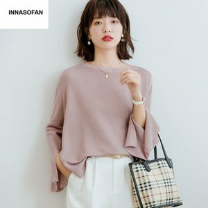INNASOFAN de Moda de Nova Magro Loose-fitting Sweater Mulheres Primavera Verão Knit Sweater euro-americana Moda Casual Irregular xyMC #