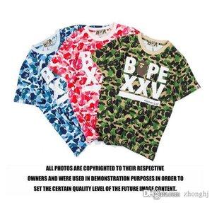 New Adolescente Hip Hop T-shirt Carta Camo Imprimir manga curta T-shirt do amante em torno do pescoço de algodão de Camo T-shirt Tees frete grátis