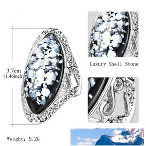 4 Color Vintage Antique Silver Colorful Big Oval Shell Finger Ring Band Ring For Women Female Statement Boho Beach Jewlery Gift Wholesale