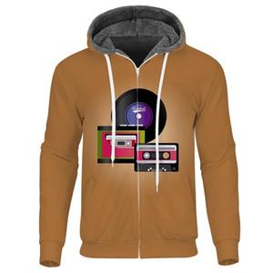 Black Records Men Fleece Coats 3D Classic Music Zipper Hoodies Casual Custom Mens Thick Jackets Hoodies