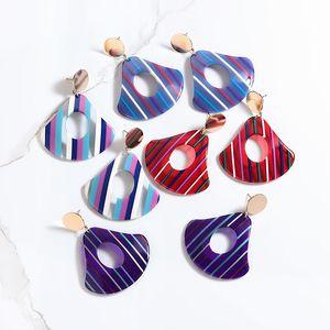 New Design Geometry Earrings Colourful Stripe Earring for Women Boho Acrylic Earrings Christmas Gift for Women Jewelry Wholesale