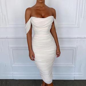 Женщины зима платье сексуальный участник ночной клуб Bodycon с плеча плиссированной спинки скольжения белый черный миди складками платья женщина падения S-L