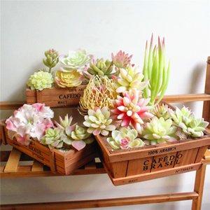 White Flocking Artificial Succulents Plants Flower Arrangement Accessories Desktop Bonsai Home Garden Decoration Fake Plants C0924