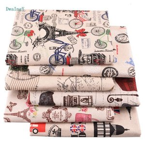 6pcs / lot DwaIngY Torre Eiffel Impreso de algodón tela de lino Para acolchar remiendo DIY de coser Mantel Bolsas 25x45cm material