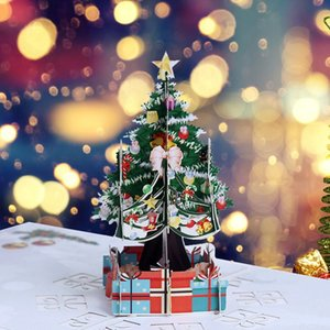 3D Up Card Santa Claus Christmas Deer Holiday Merry Christmas Greeting Cards New Arrival Hot Sale
