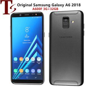 Original Recuperado Samsung Galaxy A6 2018 5,6 polegadas Octa Núcleo 3GB RAM 32GB ROM 16MP Câmera Desbloqueado 4G LTE inteligente Android Phone