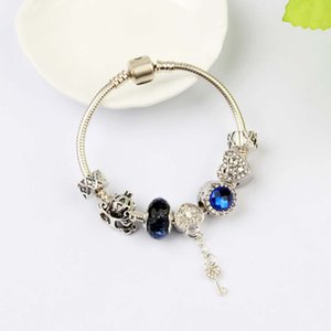 New Charm Bracelets Crystal Beads Bracelet 925 Silver Bracelets love lock Bangle Valentines Gift Diy Jewelry with gift box