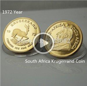 1972 yılı Sout Afrika Krugerrand Coin + YOK KOPYA, 20pcs / lot Free yudumlarken Altın kaplı yuvarlak ig hatıra sikke Patrick