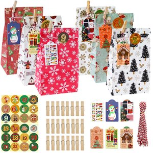 Kraft carta da forno Packaging Bag Nuovo Natale Candy Dessert Paper Bag Sticker Natale Packaging Gift Set