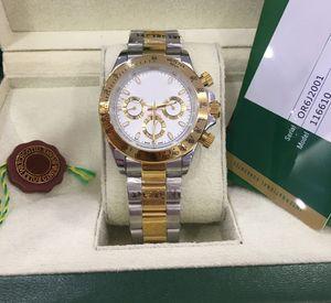 Avec boîte originale Bracelet en acier inoxydable de luxe Bordure café Platinum 116506 Mens Montre 41mm Mechanical Automatique Man Montres Montres Montre-Bracelet